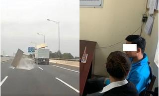 Để rơi vãi vật liệu xuống cao tốc Hà Nội - Hải Phòng, tài xế xe tải lĩnh phạt