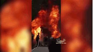 Xe container cháy dữ dội trên quốc lộ 3, tài xế may mắn thoát ra ngoài