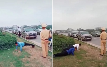 Xôn xao clip CSGT phạt tài xế chống đẩy giữa đường