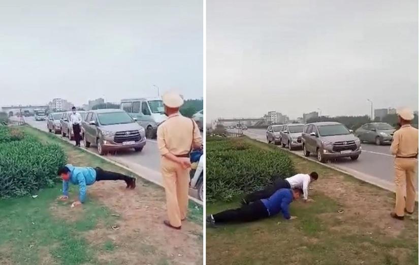 Xôn xao clip CSGT phạt tài xế chống đẩy giữa đường2