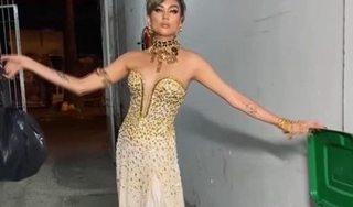 Võ Hoàng Yến trang điểm, mặc váy dạ hội để...đi đổ rác