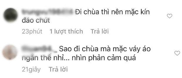 Hương Tràm bị chỉ trích gay gắt khi ăn mặc 'thiếu vải' đi chùa