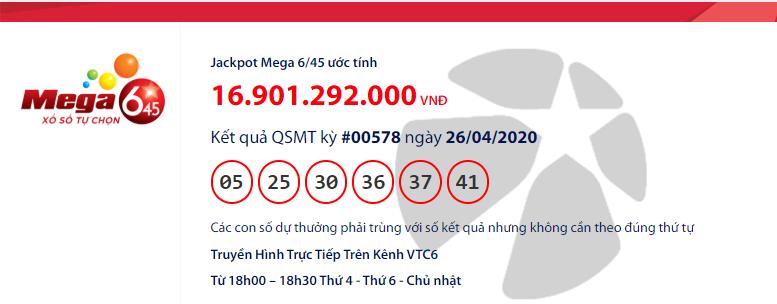 Kết quả xổ số Vietlott Mega 6/45 hôm nay chủ nhật ngày 26/4/2020: