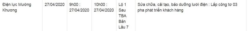 Lịch cắt điện ở Lào Cai từ ngày 28-29/45