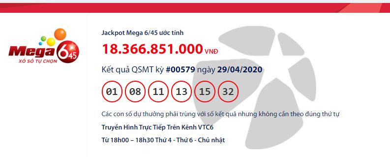 Kết quả xổ số Vietlott Mega 6/45 hôm nay thứ 4 ngày 29/4/2020: