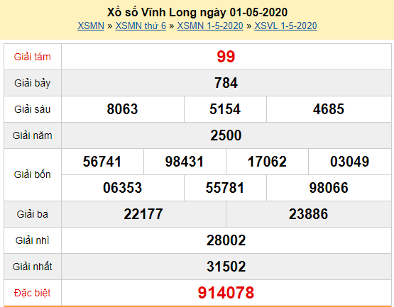 Xem trực tiếp XSVL 28/2 - Kết quả xổ số Vĩnh Long thứ 6 ngày 1/5/2020 Tại đây: