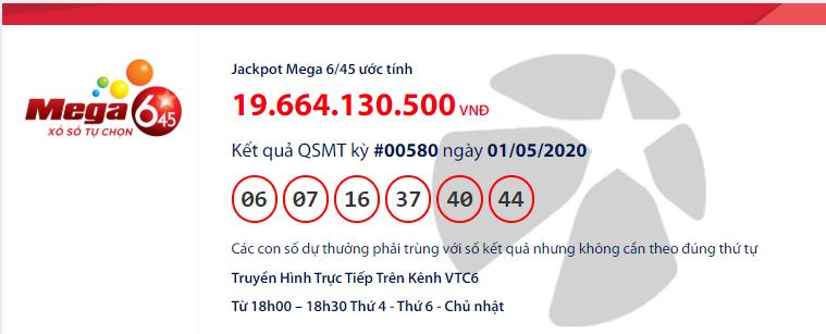 Kết quả xổ số Vietlott Mega 6/45 hôm nay thứ 6 ngày 1/5/2020: