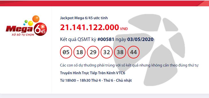 Kết quả xổ số Vietlott Mega 6/45 hôm nay chủ nhật ngày 3/5/2020: