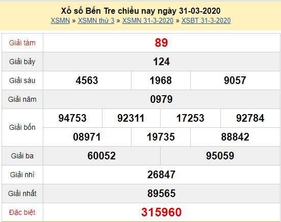 Xem lại kết quả xổ số Bến Tre thứ 3 ngày 31/3/2020: