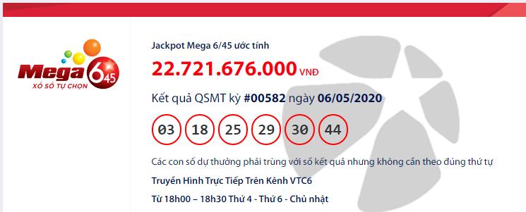 Kết quả xổ số Vietlott Mega 6/45 hôm nay chủ nhật ngày 6/5/2020: