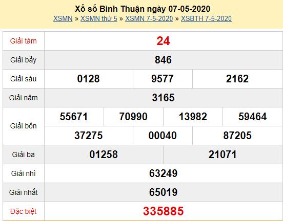 Xem trực tiếp XSBTH 7/5- Kết quả xổ số Bình Thuận thứ 5 ngày 7/5/2020 Tại đây: