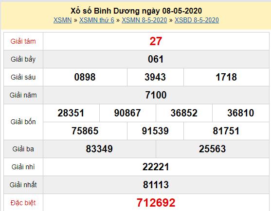 Xem trực tiếp XSBD 8/5 - Kết quả xổ số Bình Dương thứ 6 ngày 8/5/2020 Tại đây: