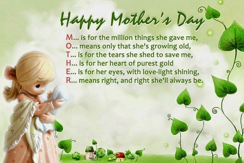 - Mẹ là điều tốt đẹp nhất mà con có. Hôm nay Ngày của Mẹ, con chúc mẹ luôn vui khỏe. Con yêu mẹ!