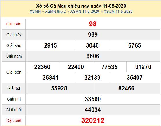 Xem trực tiếp XSCM 11/5 - Kết quả xổ số Cà Mau thứ 2 ngày 11/5/2020 Tại đây:
