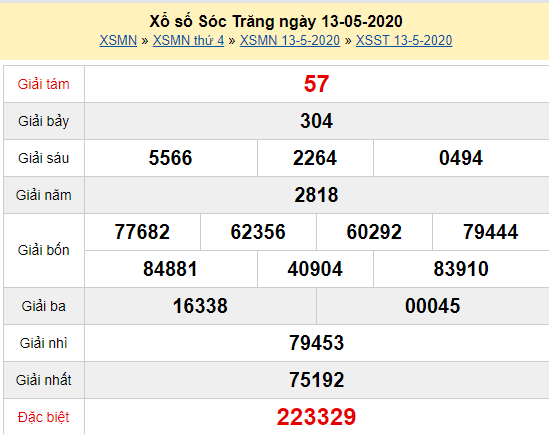 Xem trực tiếp XSST 13/5 - Kết quả xổ số Sóc Trăng thứ 4 ngày 13/5/2020 Tại đây: