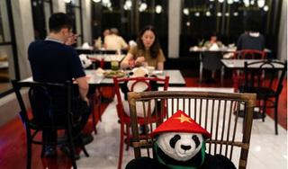 Kỳ lạ: Nhà hàng Việt xếp khách ngồi ăn với gấu bông đội nón lá