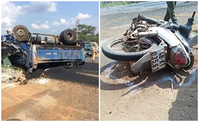 Xe chở vật liệu sửa chữa đường gây tai nạn, 4 người thương vong