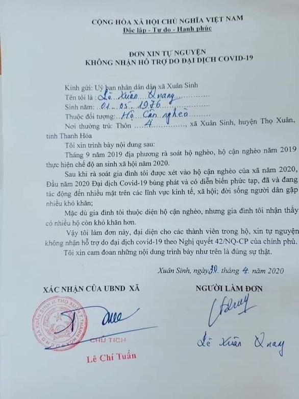 Sở LĐTB&XH Thanh Hóa yêu cầu hủy mẫu đơn 'tự nguyện không nhận tiền hỗ trợ'