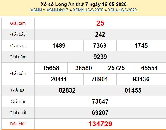 Kết quả xổ số Long An thứ 7 ngày 16/5/2020