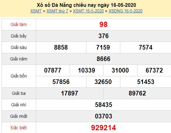 Kết quả xổ số Đà Nẵng hôm nay thứ 7 ngày 16/5/2020