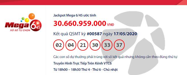 Kết quả xổ số Vietlott Mega 6/45 hôm nay chủ nhật ngày 17/5/2020: