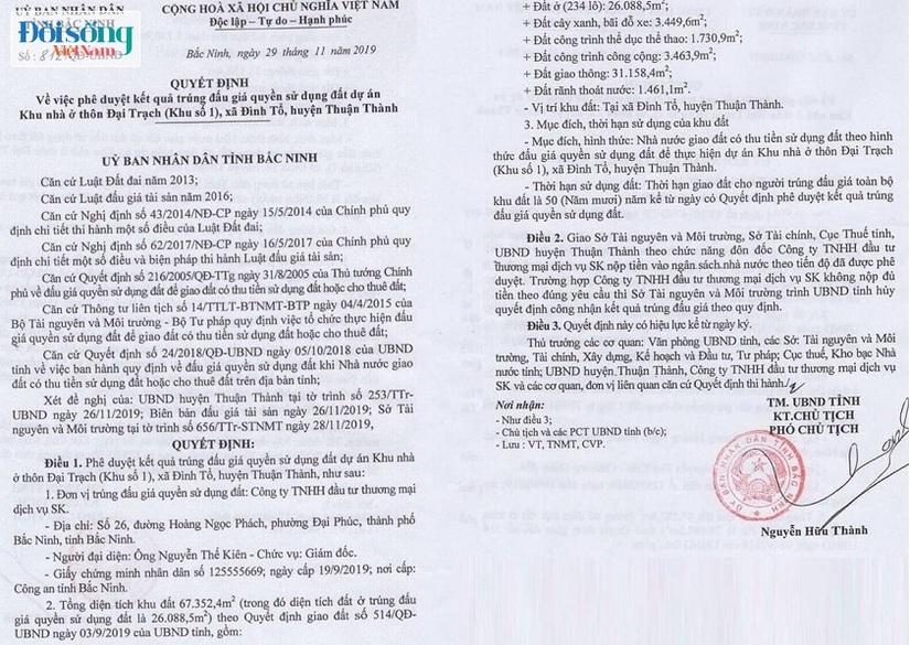 sai phạm Thuận Thành dự án khu dân cư Đình Tổ Luxury Homes02