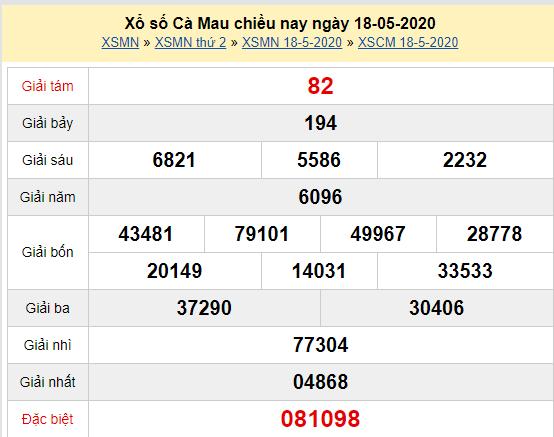 Xem trực tiếp XSCM 18/5 - Kết quả xổ số Cà Mau thứ 2 ngày 18/5/2020 Tại đây: