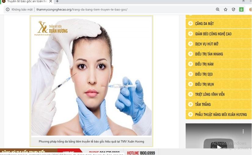 Thẩm mỹ viện Xuân Hương quảng cáo dịch vụ tiêm truyền bằng tế bào gốc không được cấp phép?