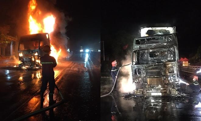 Xe đầu kéo trơ khung sau vụ cháy dữ dội trên Ql1A