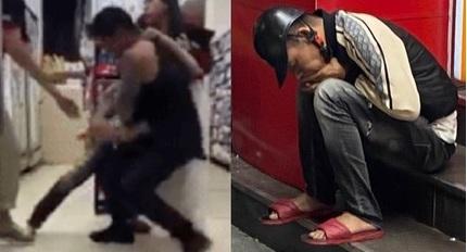 Nam thanh niên bị đánh tơi tả vì sàm sỡ cô gái ở cửa hàng tiện lợi