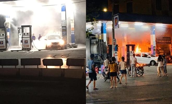 Hà Nội: Hoảng hốt dập tắt đám cháy cây xăng do ô tô lùi bất cẩn
