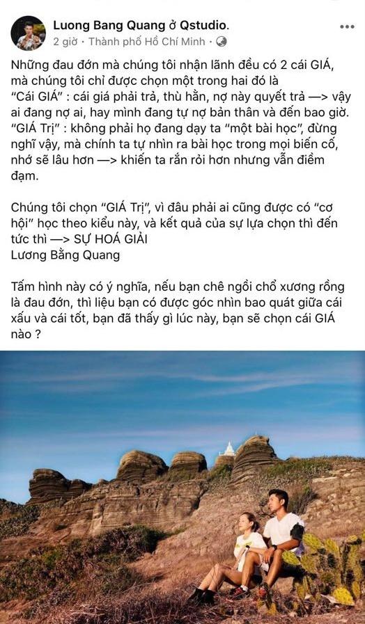 Bị hành hung phải nhập viện, Lương Bằng Quang vẫn lên mạng 'triết lý'