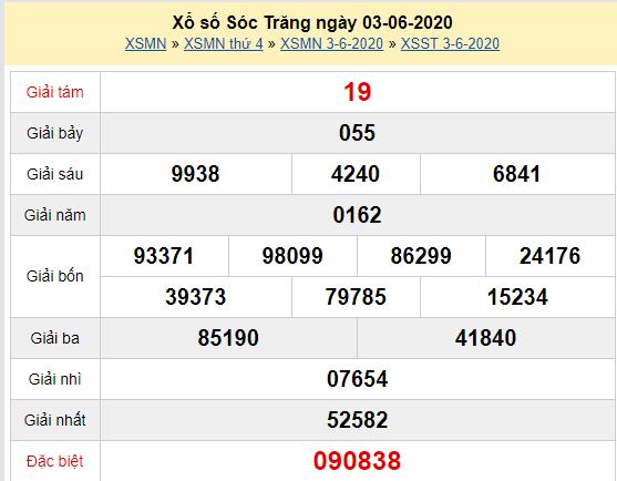 XSST 3/6 - Kết quả xổ số Sóc Trăng hôm nay thứ 4 ngày 3/6/2020