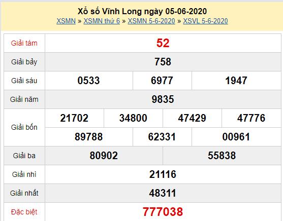 XSVL 5/6 - Kết quả xổ số Vĩnh Long hôm nay thứ 6 ngày 5/6/2020