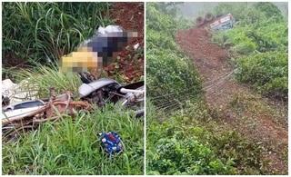 Xe máy và ô tô rơi xuống vực sau va chạm, người phụ nữ tử vong