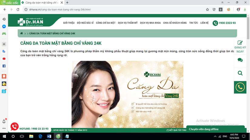 Thẩm mỹ viện Dr Han quảng cáo thực hiện 'căng da mặt' không được cấp phép