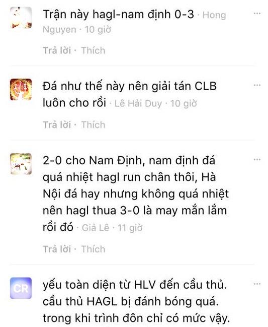Fan hâm mộ dự đoán bất ngờ về kết quả trận HAGL gặp Nam Định