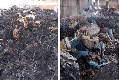 Cháy nhà xưởng, lô hàng quạt nước hàng tỉ đồng bị thiêu rụi