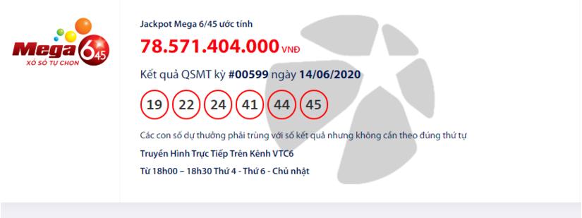 Kết quả xổ số Vietlott Mega 6/45 hôm nay chủ nhật ngày 14/6/2020:
