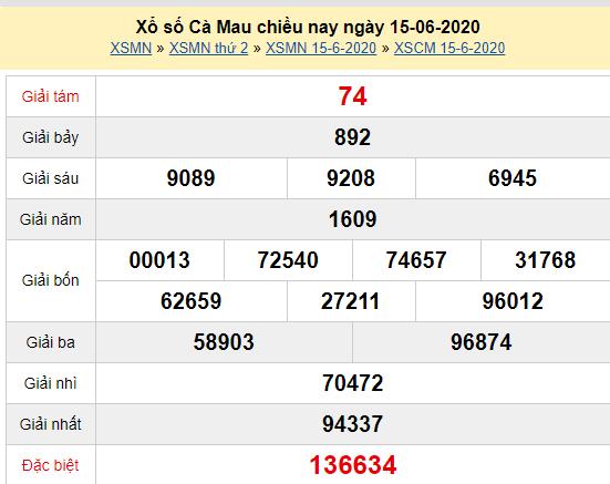 XSCM 15/6 - Kết quả xổ số Cà Mau hôm nay thứ 2 ngày 15/6/2020