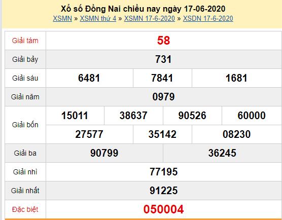 XSDN 17/6 - Kết quả xổ số Đồng Nai hôm nay thứ 4 ngày 17/6/2020