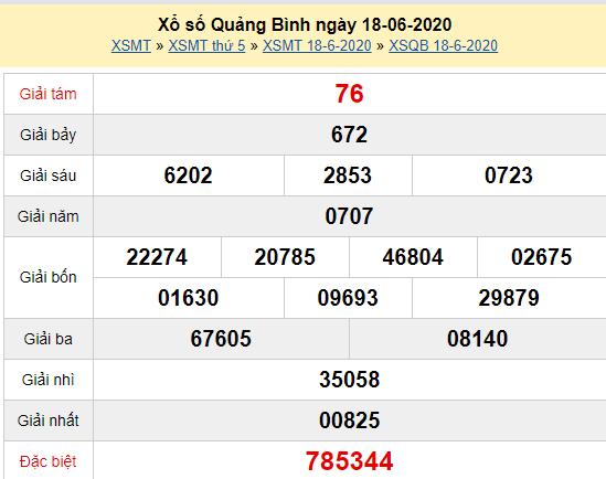XSQB 18/6 - Kết quả xổ số Quảng Bình hôm nay thứ 5 ngày 18/6/2020