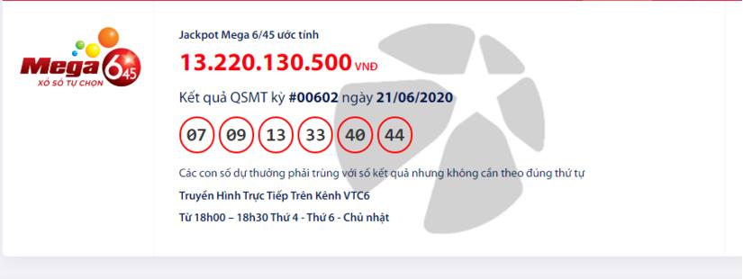 Kết quả xổ số Vietlott Mega 6/45 hôm nay chủ nhật ngày 21/6/2020: