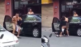 Xôn xao clip người đàn ông bị lôi ra khỏi xe ô tô trong tình trạng khỏa thân