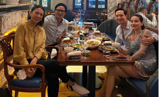 Hồ Ngọc Hà lộ vóc dáng tròn trịa khi đi ăn cùng Kim Lý và bạn bè