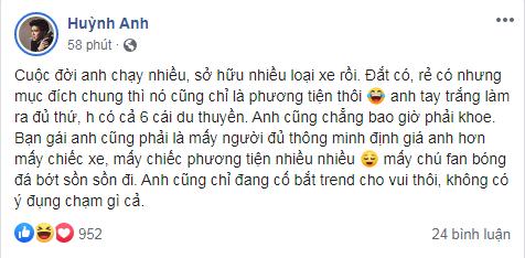 Bị cho 'cà khịa' Quang Hải chuyện 'ngồi Mẹc nhún nhảy hồ Tây', diễn viên Huỳnh Anh lên tiếng