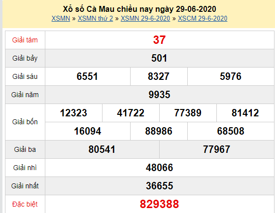 XSCM 29/6 - Kết quả xổ số Cà Mau hôm nay thứ 2 ngày 29/6/2020