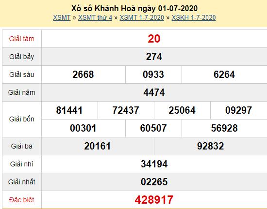 Xẹm lại KQXSKH 1/7 - XSKTKH 1/7 - Xổ số Khánh Hòa ngày 1/7/2020