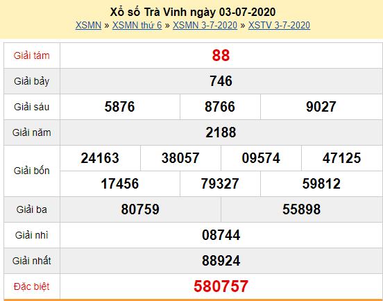 XSTV 3/7 - Kết quả xổ số Trà Vinh hôm nay thứ 6 ngày 3/7/2020