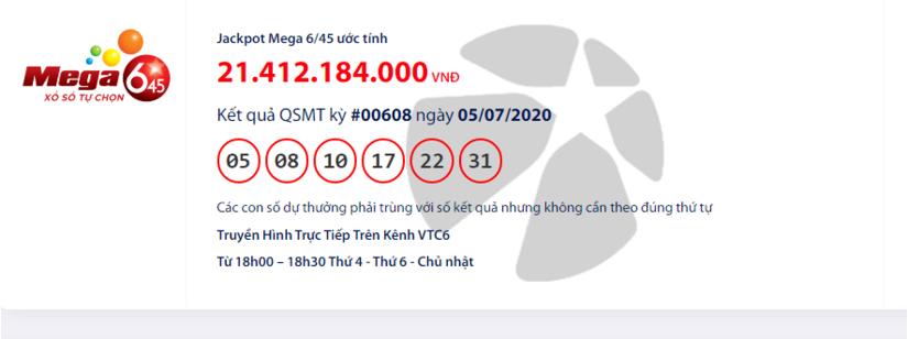 Kết quả xổ số Vietlott Mega 6/45 hôm nay chủ nhật ngày 5/7/2020